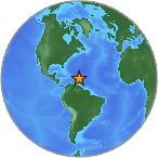 Small globe showing earthquake