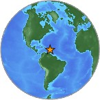 Small globe showing earthquake